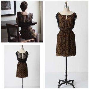 Anthropologie Maple Recollections Silk Lace Dress